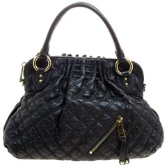 Marc Jacobs Black Quilted Leather Cecilia Satchel