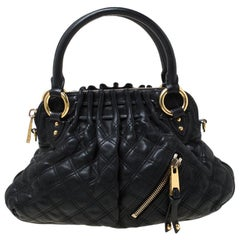Marc Jacobs Black Quilted Leather Small Cecilia Satchel