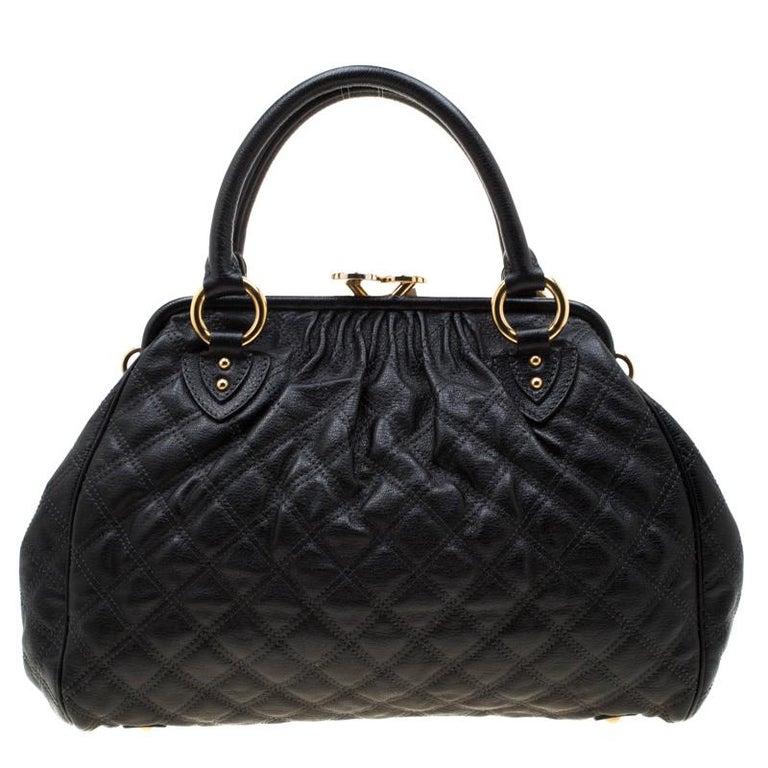Women's Marc Jacobs Black Quilted Leather Stam Shoulder Bag For Sale