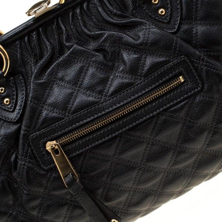 Marc Jacobs Black Quilted Leather Stam Shoulder Bag For Sale 3