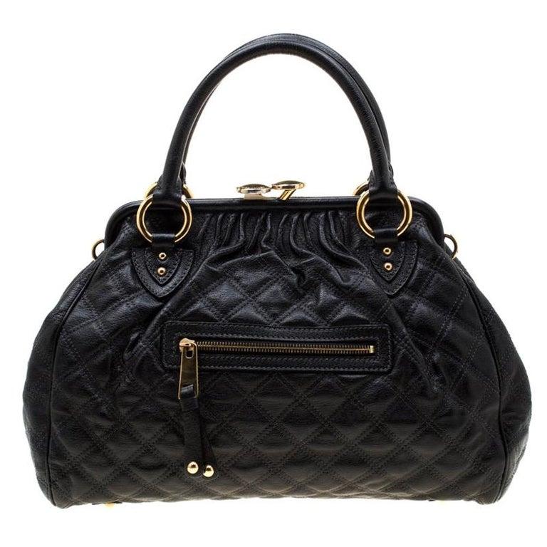 Marc Jacobs Black Quilted Leather Stam Shoulder Bag For Sale