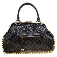 Marc Jacobs Black Quilted Leather Stam Top Handle Bag