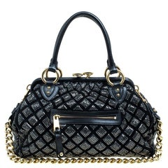Marc Jacobs Black Quilted Suede Crystal Embellished Stam Satchel