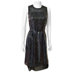 Marc Jacobs Black Sequin and Sheer Lingerie Bodice Sleeveless Cocktail Dress