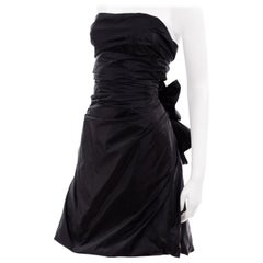 Marc Jacobs Black Taffeta Open Tie Back Punk Inspired Evening Dress