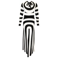 Marc Jacobs Black & White 60's Mod Design Long Sleeve Evening Dress 8 US