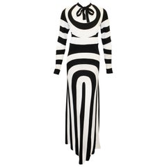 Marc Jacobs Black & White 60's Mod Design Long Sleeve Evening Dress