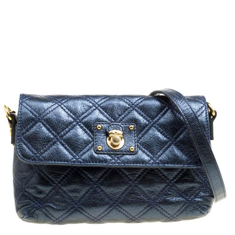 3a360c0f476 Marc Jacobs Blue Quilted Leather Day To Night Single Crossbody Bag For Sale