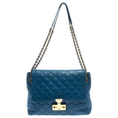 Marc Jacobs Blue Quilted Leather Large Baroque Single Shoulder Bag