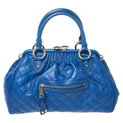 Marc Jacobs Blue Quilted Leather Stam Satchel