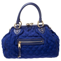 Marc Jacobs Blue Quilted Neoprene and Leather Stam Shoulder Bag