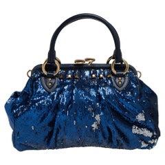 Marc Jacobs Blue Sequins and Suede Stam Satchel