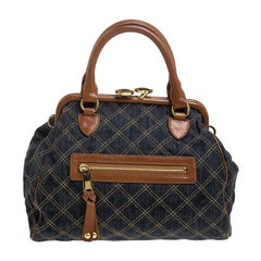 Marc Jacobs Blue/Tan Quilted Denim Mini Stam Satchel