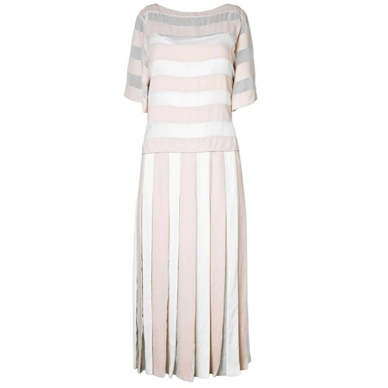 Marc Jacobs Blush & Ivory Stripe Pleated Dress Sz 8