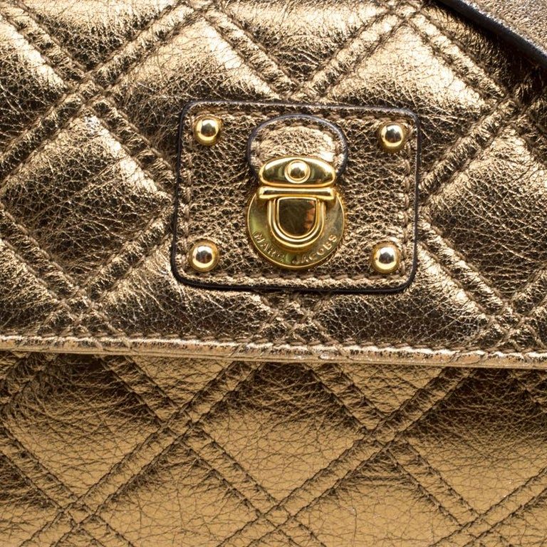 Marc Jacobs Bronze Quilted Leather Day To Night Single Crossbody Bag For Sale 5