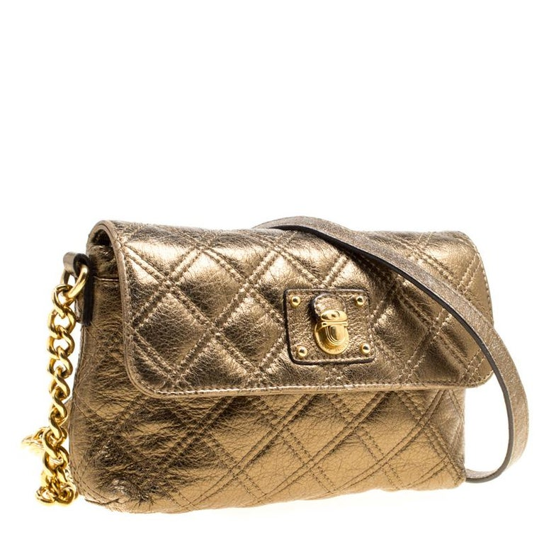 Marc Jacobs Bronze Quilted Leather Day To Night Single Crossbody Bag For Sale 4