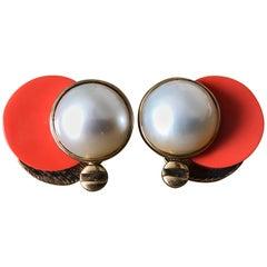 Marc Jacobs Brutalist Vintage Vermeil Mabe Pearl and Coral Cufflinks