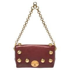 Marc Jacobs Burgundy Leather Studded Flap Shoulder Bag