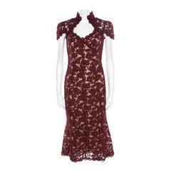 Marc Jacobs Burgundy Rose Guipure Lace Cap Sleeve Midi Dress S