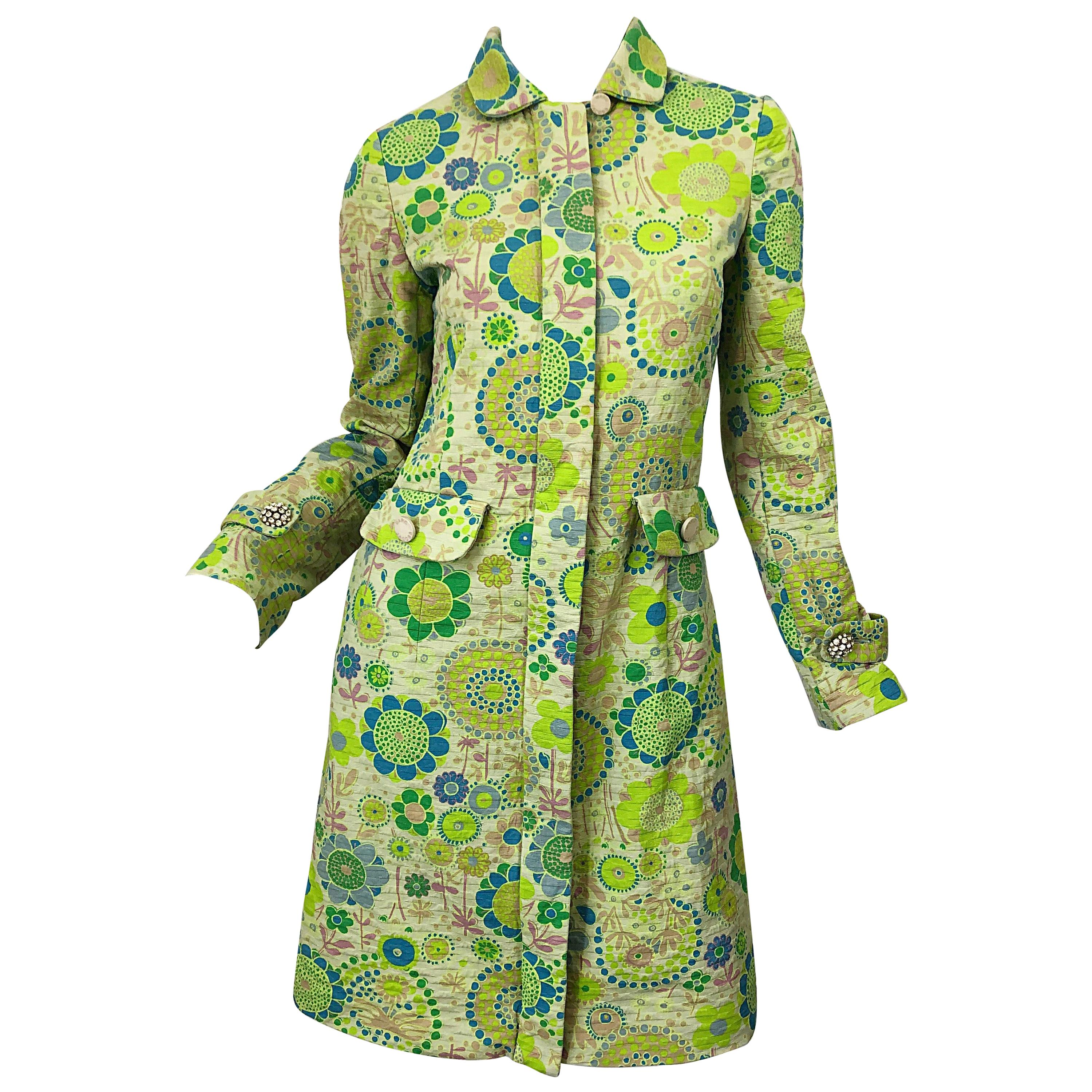 Marc Jacobs Collection Neon Green Blue Rhinestone Mod 60s Style Cotton Jacket