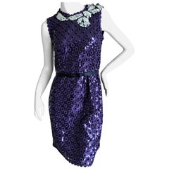 Marc Jacobs Collection Purple Sequin Eyelet Dress w Jewel Tromp l'oeil Necklace
