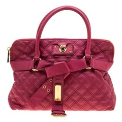 Marc Jacobs Dark Pink Quilted Leather Bruna Belted Tote
