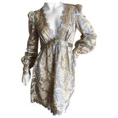 Marc Jacobs Elegant Vintage Gold & Silver Lace Scalloped Dress w Bugle Bead Belt