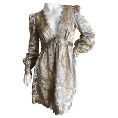 Marc Jacobs Elegant Vintage Gold & Silver Lace Scalloped Dress w Bugle Bead Belt