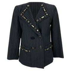 Marc Jacobs Embellished Black Wool Pinstriped Blazer Size 40 IT
