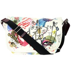 Marc Jacobs Embellished Collage-Print White Canvas Large Messenger Bag