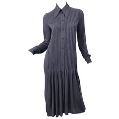 Marc Jacobs for Bergdorf Goodman 1920s Flapper Style Gray 20s Rayon Shirt Dress