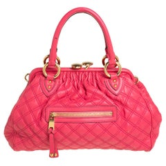 Marc Jacobs Fuchsia Quilted Leather Stam Satchel