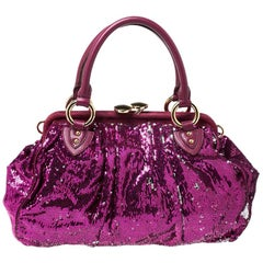Marc Jacobs Fuchsia Sequins New York Rocker Stam Shoulder Bag