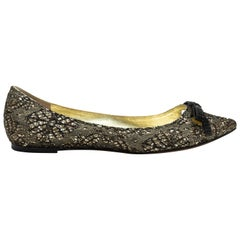Marc Jacobs Gold & Black Lace Bow-Accented Flats