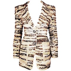 Marc Jacobs Gold & Silver Tone Sequined Brocade Notch Collar Jacket Size 10 US