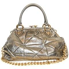 Marc Jacobs Gold Tone Quilted  Metallic Stam Bag One External Zipper
