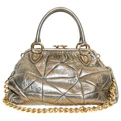 Marc Jacobs Gold Tone Quilted  Metallic Stam Bag One External Zipper