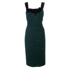 Marc Jacobs Green and Black Polka Dotted Sleeveless Dress S