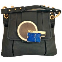 Marc Jacobs Green Leather Double Saddlebag w/ Top Handle & Metal / Jewel Accents
