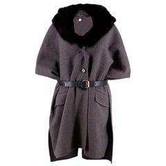 Marc Jacobs Grey Cashmere Cape Coat with Fur Collar - Size S/M