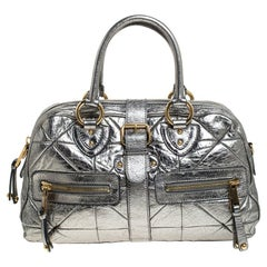 Marc Jacobs Grey Metallic Leather Double Zip Pocket Satchel