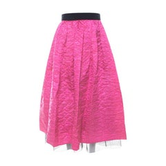 Marc Jacobs Hot Pink Crinkled Silk Tulle Layered Maxi Skirt M