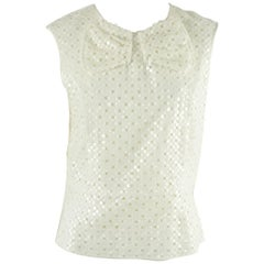 Marc Jacobs Ivory Cotton Blend Top with Eyelet, Sequin, and Bow Detailing - 10