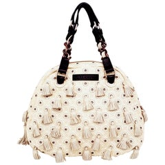 Marc Jacobs Ivory Patent Leather Multi Tassel Dancer Bag with 2 Top  Handles