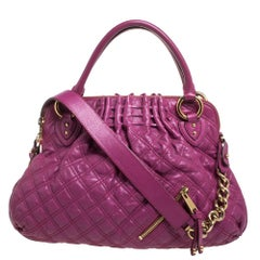 Marc Jacobs Magenta Quilted Leather Cecilia Satchel