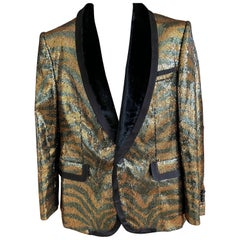 Marc Jacobs Men's Tiger Sequin Evening Jacket with Velvet Shawl Collar