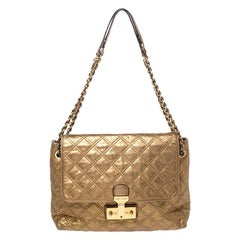 Marc Jacobs Metallic Gold Quilted Leather Flap Shoulder Bag