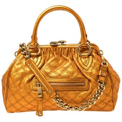 Marc Jacobs Metallic Orange Quilted Leather Stam Satchel