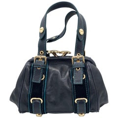 Marc Jacobs Navy & Teal Blue Suede / Leather w/ Gold Tone Metal Accents Handbag
