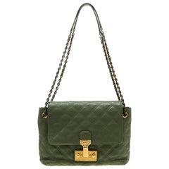 3da811e661 Marc Jacobs Olive Green Quilted Leather Large Baroque Single Shoulder Bag